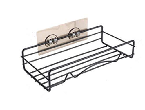 DONGYAO Estante de baño sin marcas, estante de esquina de ducha, estante de inodoro, trípode montado en la pared sin perforación, 23,5 x 11,5 x 5,5 cm, estantes de almacenamiento negros