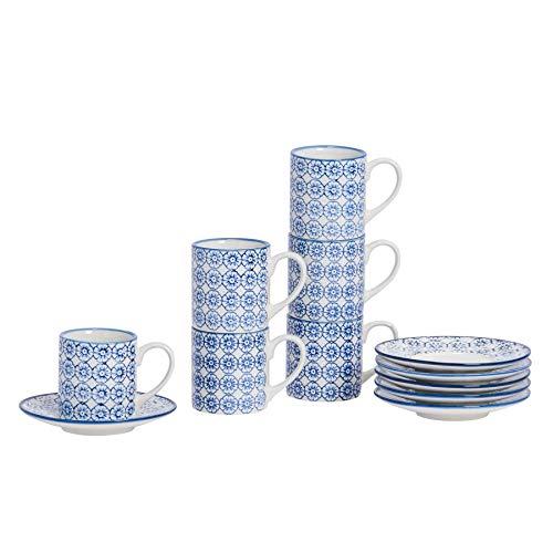 Nicola Spring Gemustertes Espresso Tasse und Untertasse Set - 65 ml - Blaues Blumen Aufdruck - 6er Packung