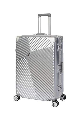 Travelhouse Roma Koffer Silber L-77cm · Alu Rahmen · Polykarbonat Hartschale · Reisegepäck Reisetrolley Trolley · 2X TSA Zahlenschloss · 108L