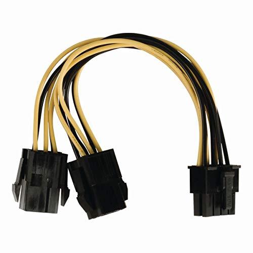 TronicXL Stromkabel kurz Kurzes Internes Netzkabel Stecker EPS 8-polig - 2X PCI-Express-Buchse 0,15 m