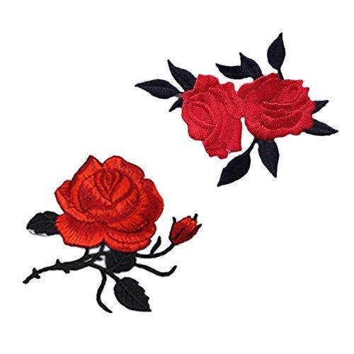 Rose Blume Stickerei Spitze Aufnäher Aufbügler Applikation Iron on Patches Für T-Shirt Jeans Hut Dekor 2 Stück von Satz