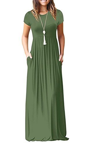 VIISHOW Women's Short Sleeve Loose Plain Maxi Dresses Casual Long Dresses Maternity Dresses with Pockets(Army Green,Medium)