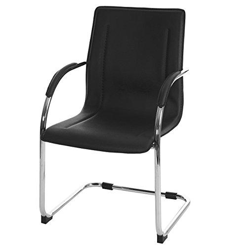 Mendler Esszimmerstuhl Samara, Freischwinger Küchenstuhl Lehnstuhl Stuhl, PVC Stahl - schwarz