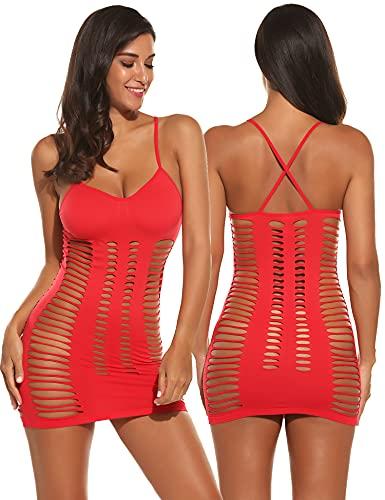 Avidlove Lingerie Dessous Frauen Mesh Sexy Hollow Out Negligee Babydoll Wäsche Netzs Flexibel Free Size Mini Silm Kleid, C.rot, Einheitsgröße(M)