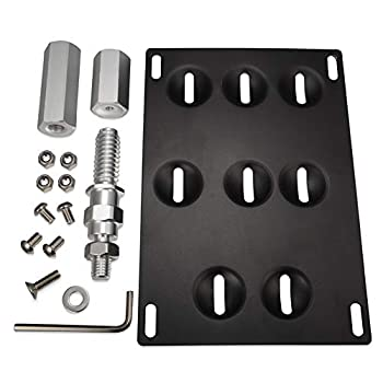 GTP Front Bumper Tow Hook License Plate Mounting Bracket Holder Relocator Compatible with Nissan 370Z Z34 GTR R35 Sentra Juke G37 2dr Coupe / Q60 / Q50  fit Without Front Parking Sensor ONLY