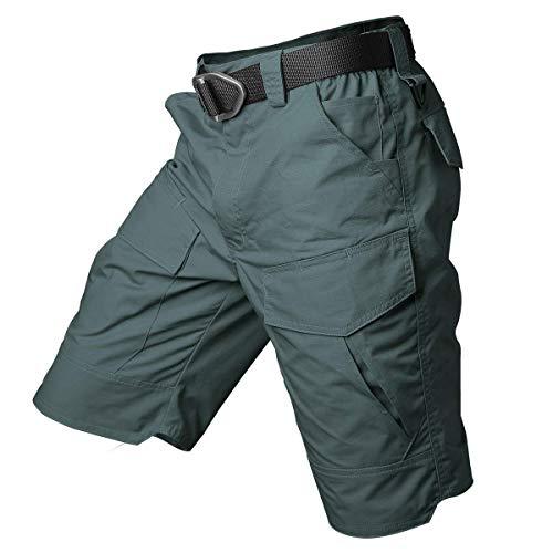 CARWORNIC Pantalones cortos tácticos cargo Rip-Stop camuflaje militar al aire libre senderismo pantalones cortos casuales con múltiples bolsillos