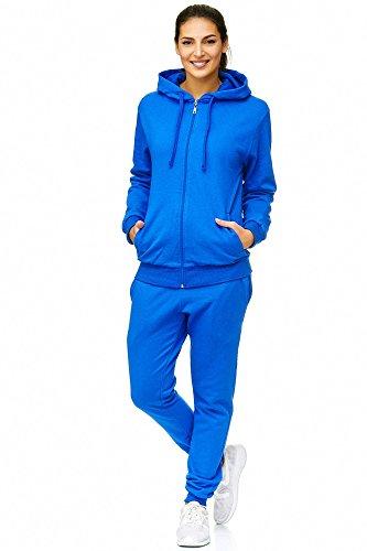 Violento Damen Jogginganzug Uni 586 | 100% Baumwolle | Trainingsjacke mit Reißverschluss | Hose mit Gummizug und Zugband | Rippstrickbündchen | Blau, 3XL