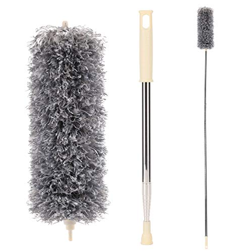 Microfiber Duster with Extension Pole(Stainless Steel), Extra Long 100 inches, with Bendable Head, Extendable Dusters for Cleaning Ceiling Fan, High Ceiling, Furniture & Cobweb, Grey