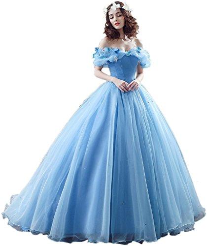 Promgirl House Damen 2017 Maerchenhaft Prinzessin A-Linie Ball Brautkleider Hochzeits Abendkleider Lang-36 Blau