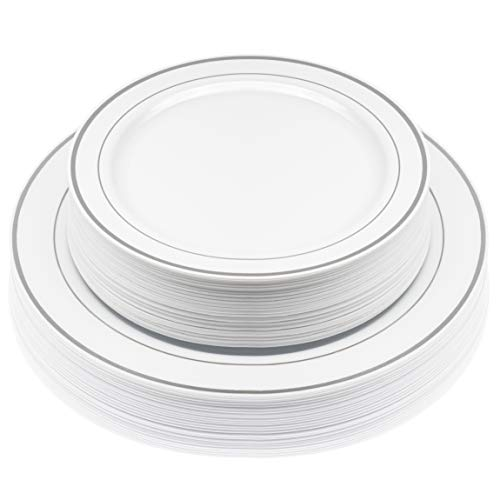 50-Pack Elegant Disposable Hard Plastic Plates | Combo Set Includes 10.5-Inch Dinner Plates + 7.5-Inch Salad Dessert Plates with Elegant Silver Edge Pattern | Premium Dishes for Parties, & Weddings