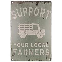 あなたの地元の農民をサポートする面白いトラックのコーヒーカップの看板レトロなヴィンテージバー金属錫看板ポスタースタイルの壁アートパブバーの装飾-20x30cm