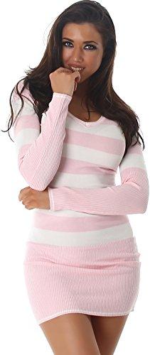 Jela London Slim-Fit Pullikleid Longpulli Pullover dünn Minikleid Feinstrick Streifen V-Ausschnitt, Rosa