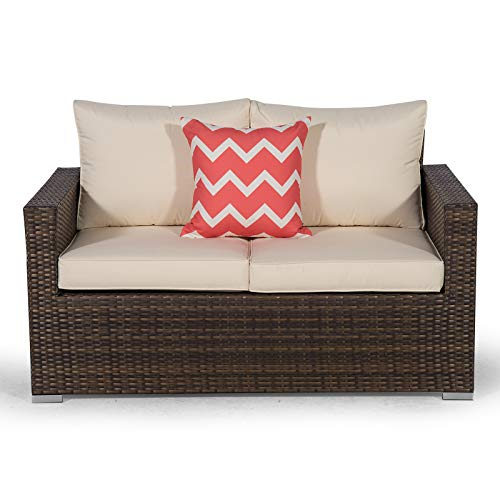 Giardino Sydney Brown Rattan 2 Seater Loveseat Sofa | Poly Rattan Garden Sofa | Patio Outdoor Rattan Loveseat with All Weather Garden Furniture Cover