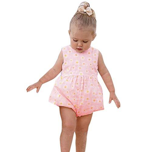 Hui.Hui Infantile BéBé Filles sans Manches Tournesol Imprimé Noeud Body Barboteuse VêTements