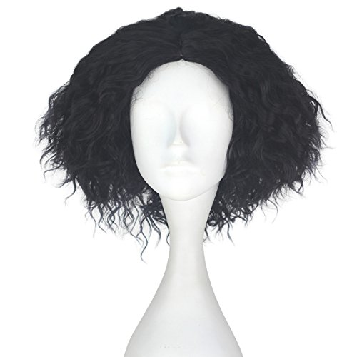 Miss U Hair Synthetic Short Fluffy Curly Hair Men Boy Party Cosplay lolita Wig Halloween Adult(Jet black)