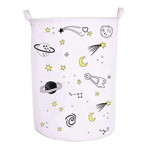 Runtoo 19.7 Large Sized Laundry Hamper Waterproof Foldable Canvas Outer Space Theme Bucket Clothing Laundry Basket with Handles for Storage Bins Kids Room Home Organizer Nursery Storage Baby Hamper