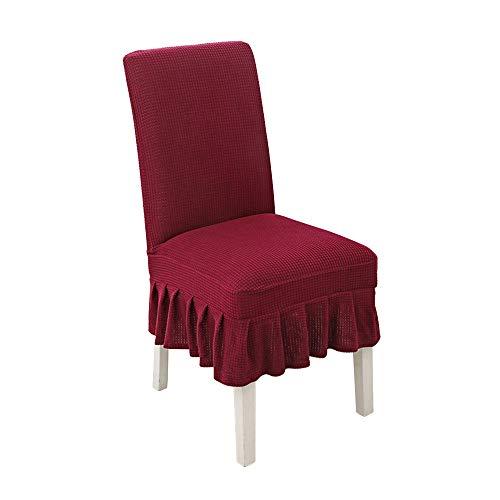 Stuhlhussen für Esszimmerstühle, rot, modern, dehnbar, abnehmbar, waschbar, 2 Stück