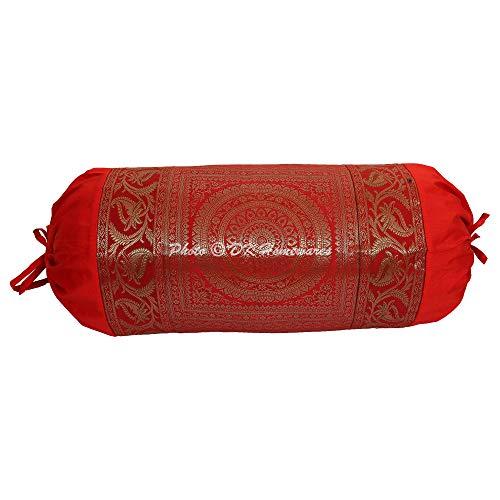 DK Homewares Indian Tradicional Festival Decoración 30 X 15 Pulgadas Funda De Cojín De Tubo Seda Brocado Jacquard Floral Mandala Cilíndrico Fundas De Almohada Cervical (Rojo ; 76 X 38 Cm) -1 Pc