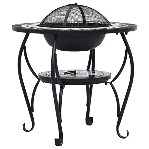 Tidyard Mosaic Fire Pit BBQ Fire for Garden or Patio Black and White 68cm Ceramic Type B