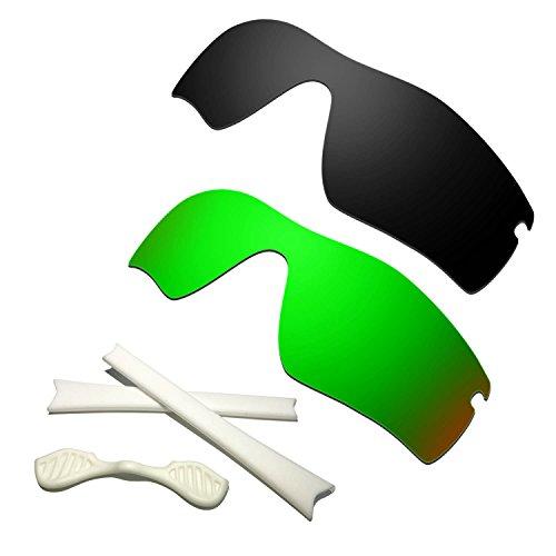 HKUCO Black/Green Polarized Replacement Lenses plus Black Earsocks Rubber Kit For Oakley Radar Path