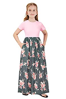 TUONROAD Kids Long Maxi Dress Summer Winter Fall Flare Party Dress for Girls 12 13 Years Old Floor Length Crew-Neck Maxi Dress for School Students