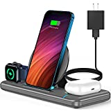 Wireless Charger, 3 in 1 Wireless Charger Station for Apple Watch SE 6 5 4 3 2, AirPods Pro/2, Wireless Charging Stand Dock with Adapter for iPhone 12 11 Pro Max Xs X Xr 8, Samsung (Grey)