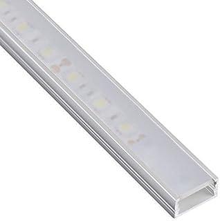 DL1407 - Perfil de aluminio 6063, 10m, 5 barras de 2m, para tiras LED, con cubierta opaca, tapas y grapas de montaje incluidas
