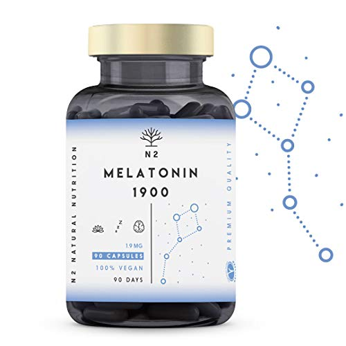 Melatonina Pura 1,9 mg, 5HTP Griffonia, Vitamina B6. Facilita la Conciliación y Mejora Calidad del Sueño. Reduce Estrés, Ansiedad, Insomnio. Mejora Estado de Ánimo. 90 Cápsulas, N2 Natural Nutrition