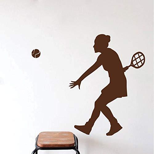 yaonuli Tennis Spieler Silhouette wandtattoo Sport mädchen Spielen Tennis wandaufkleber Dekoration wandtattoo 36x85 cm