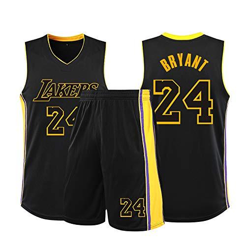 SYXBB-Lampe Baloncesto Camiseta NBA Lakers # 24 de Kobe Bryant, Jersey, Uniforme del Baloncesto de los Hombres de Las Mujeres clásicos Jerseys Top,Negro,S