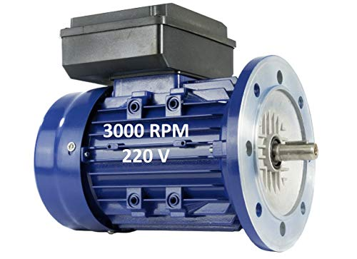 Motore Elettrico Monofase 0,75 KW/1 CV 220 V 3000 RPM B5 (Flangia 200 Mm) Dimensioni 80 - Asse 19 Mm Altezza Coppia Di Avviamento Alren.