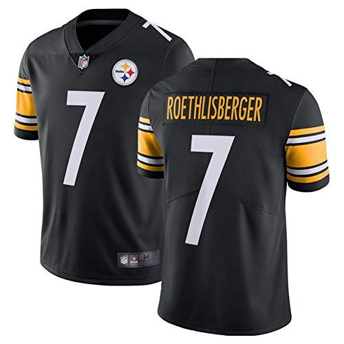 CRTO American Football Trikot, Roethlisberger 7#, Pittsburgh Steelers Trikot, Unisex Sports Kurzarm Best Gift,Black 7#,XXXL