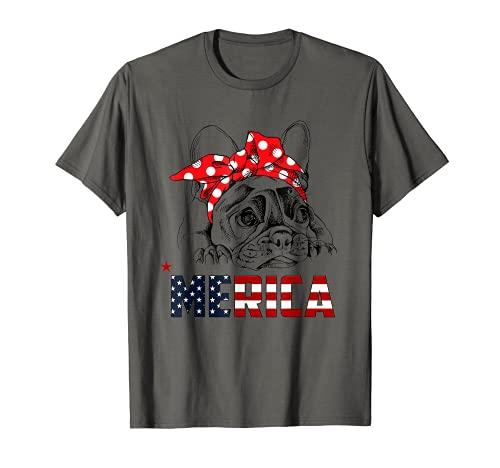 French Bulldog American Flag Shirt Frenchie 4th of July T-Shirt