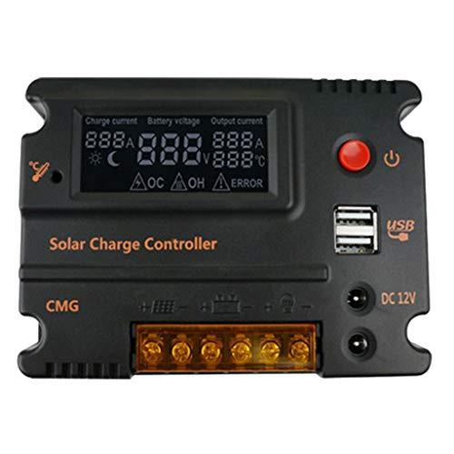 perfk Controlador 20A MPPT PWM Controlador de Carga Solar a Prueba de Agua con Pantalla LCD Y Barra LED