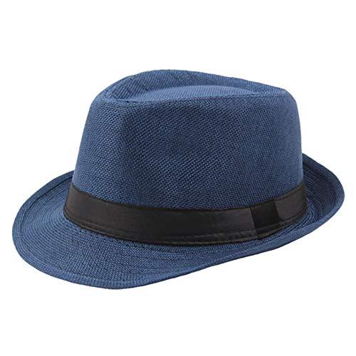 Viner Dames Heren Zomer Casual Trendy Strand Zon Krullend stro Panama Jazz Linnen Hoge hoed Ademend Cowboyhoeden Gangsterpet, blauw