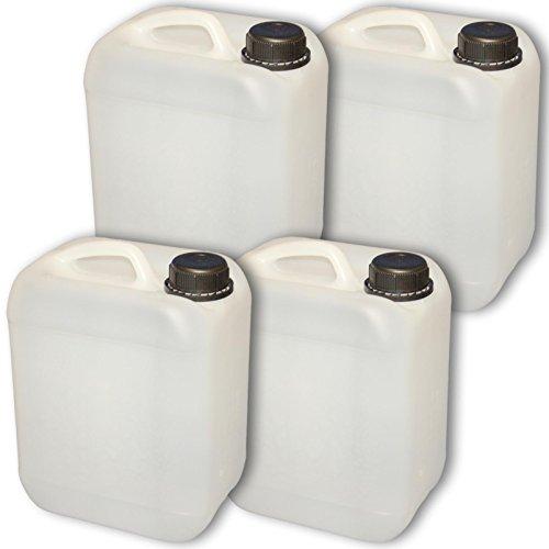 Set: 4 x 5 Liter Leerkanister Neu mit Sicherheitsverschluss (DIN 45) | Lebensmittelecht | Tragbar Stapelbar und Stabil | Indoor und Outdoor | BPA Frei | Made in DE