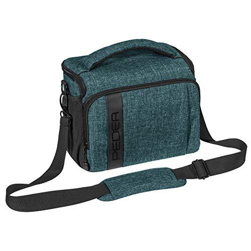 PEDEA DSLR-Kameratasche Fashion Fototasche für Spiegelreflexkameras mit wasserdichtem Regenschutz, Tragegurt & Zubehörfächern (Größe XL, Petrol)