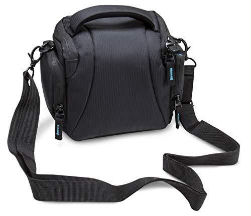 BODYGUARD DSLM Foto/Kamera Tasche System L mit Zubehörfächern und Tragegurt - schwarz - passend für Bridgekamera oder Systemkamera