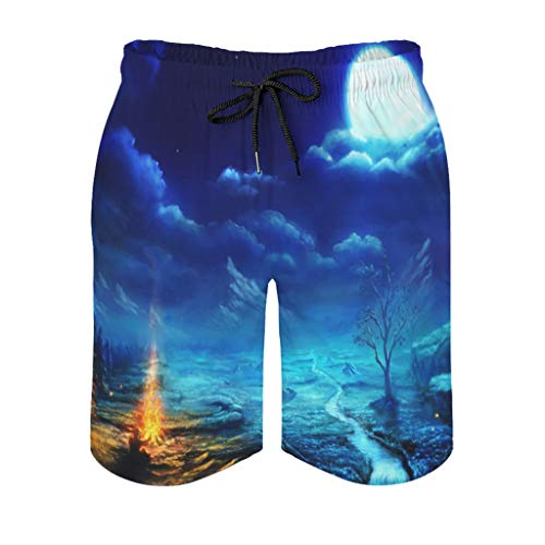 kikomia Men's Beach Shorts Full Moon in Winter Night Campfire Print Colourful Swimsuits with Pockets, mens, White, L