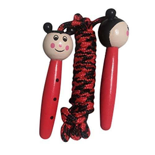 Andouy Verstellbare Springseil für Kinder, Einstellbar Springen Seil mit Cartoon Holzgriff und Baumwollseil, Ideal für Fitness Training/Spiel/Fett Brennen Übung(3M.Rot-1)