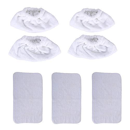 DEYF 7-teiliges Mikrofaser-Reinigungstuch & weiße Frottee-Reinigungstücher Für Karcher SC1020 SC1030 Dampfreiniger(4 Tücher+3 Handtuch)