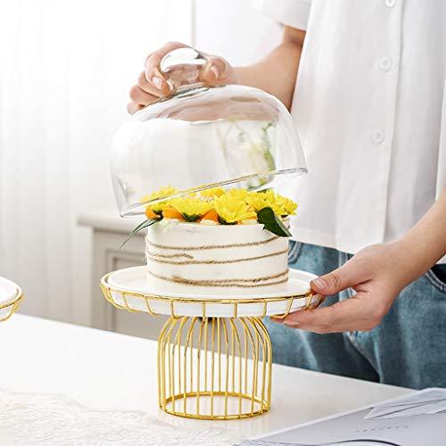 C-J-Xin Porselein Serving Platter, Can Hotel Decoratie Dessert Tray en Deksel van het Glas Falafel Dome worden alleen gebruikt Chip & Dip Server 20.8 / 29cm cake Standaards (Size : 29 * 29 * 27.2CM)