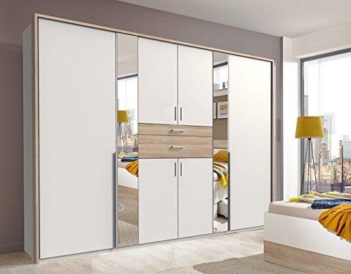 lifestyle4living Kleiderschrank mit Spiegel, Eiche Sonoma Dekor, Weiß, 270 cm   Drehtürenschrank 6 türig mit 2 Schubladen im modernen Stil