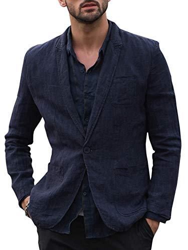 """Fueri, giacca da uomo in 100% lino, per il tempo libero, con bottoni, modello con vestibilità """"Slim Fit"""", estiva, casual A-blu scuro. L"""