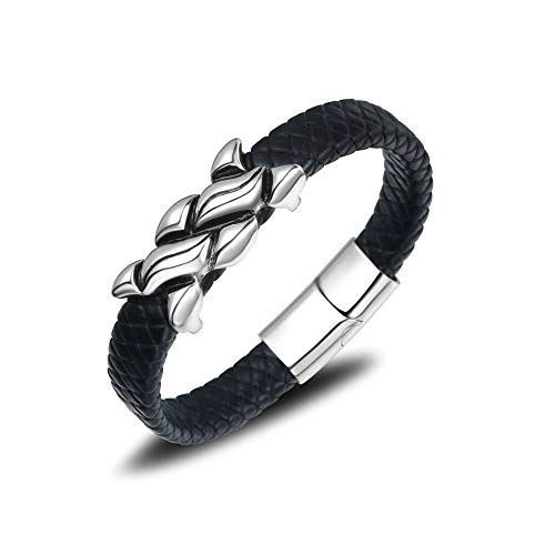 GHabby Personalised Men's Leather Bracelets, Classic Woven Cuff Black Rope Wristband, Stainless Steel Punk Bracelet with Magnetic Clasp (H)