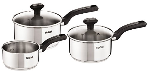 Tefal C973S344 Comfort Max Stainless Steel Saucepan Set, 3 Pieces - Silver