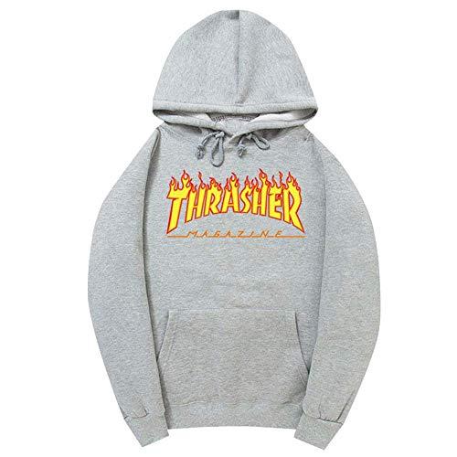 WHTIAN Herbst/Winter Hip Hop Unisex Fleece Sweatshirt Mit Kapuze Und Flammenmuster, Baumwolle (L)