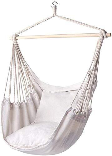 Sooiy Toile de Coton Suspendu Chaise à l'extérieur balançoire balançoire rayé Blanc Chaise intérieure et extérieure Suspendue à partir de Coton Robuste et Tissu de Polyester