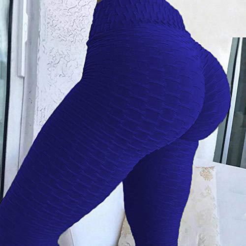 Mayas Deportivas Mujer,Pantalones de Yoga de Burbujas de Alta elástico, Sudor rápido y Leggings Delgados-Azul Marino_M,Mujer Fitness Mallas Push