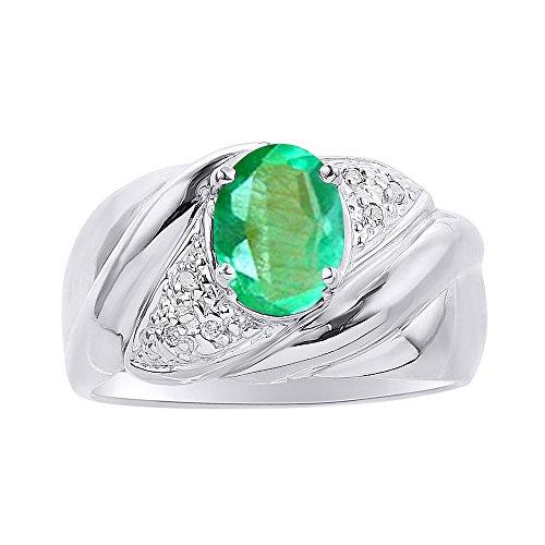Juego de anillos de diamante y esmeralda en oro blanco de 14 quilates – piedra de color anillo de nacimiento